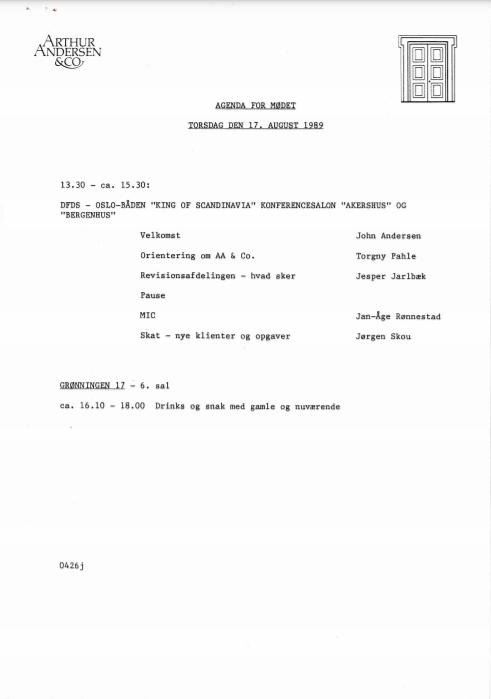 Agenda for AAA-møde aug 1989, del2